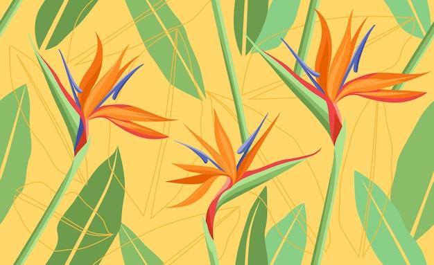 Sfondo tropicale luminoso con piante della giungla Vettore Premium
