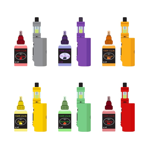 Set di dispositivi vap luminosi. vaping juice in bottle. Vettore Premium