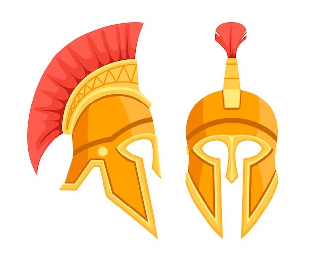 Elmo greco in bronzo. armatura antica spartana. casco capelli rossi. illustrazione su sfondo bianco Vettore Premium