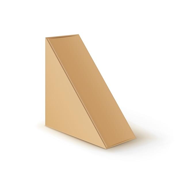 Triangolo di cartone vuoto marrone da asporto scatole di imballaggio per sandwich Vettore Premium