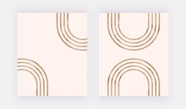 Stampa artistica da parete con linee marroni. poster di design boho Vettore Premium