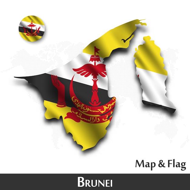 Mappa e bandiera del brunei. agitando il design tessile. dot mappa del mondo di fondo. Vettore Premium