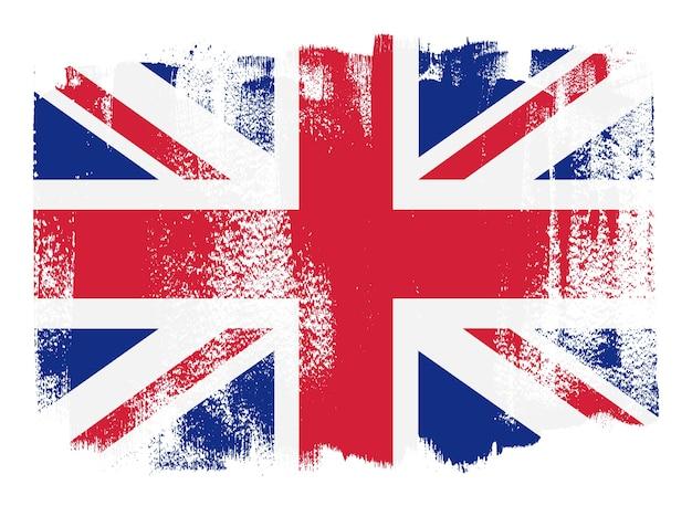 Bandiera della gran bretagna tratto di pennello Vettore Premium