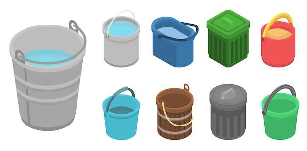 Set di icone di secchio. insieme isometrico delle icone di vettore di secchio per web design isolato su priorità bassa bianca Vettore Premium