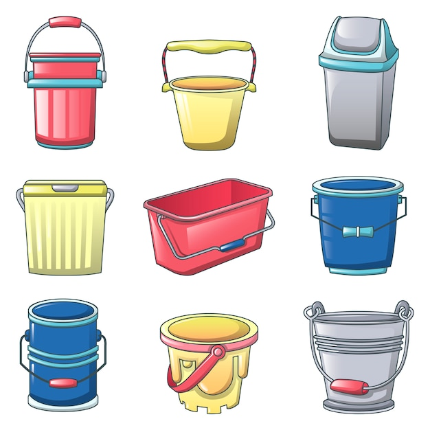 Set di icone del contenitore di tipi di benna Vettore Premium