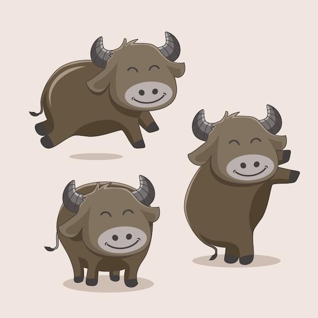 Buffalo cartoon simpatici animali Vettore Premium