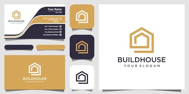 Costruire il logo della casa con stile art linea. estratto della costruzione domestica per il disegno di marchio e del biglietto da visita Vettore Premium