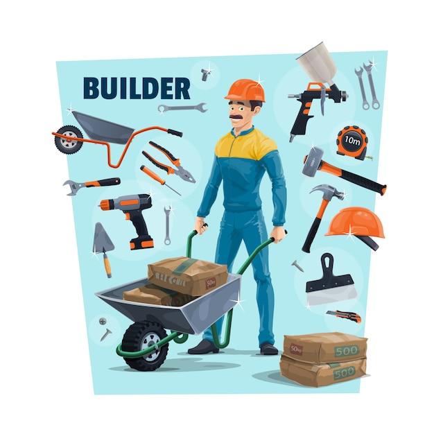 Builder, operaio edile e strumenti. costruttore del fumetto che trasporta un cemento in carriola, spruzzatore e martello, nastro di misurazione, cacciavite e cazzuola, coltello e chiave inglese, pinze e raschietto Vettore Premium