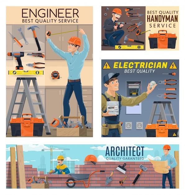 Architetto ingegnere costruttore, operai elettricista Vettore Premium
