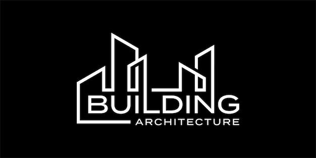 Modello di ispirazione di progettazione di logo di marchio di parola di architettura della costruzione Vettore Premium