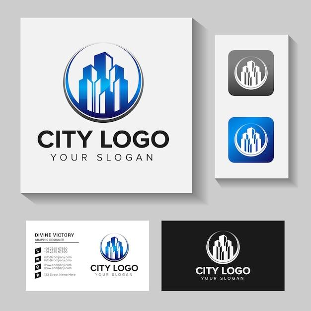 Ispirazione per il design del logo della costruzione di edifici. design del logo e biglietto da visita Vettore Premium