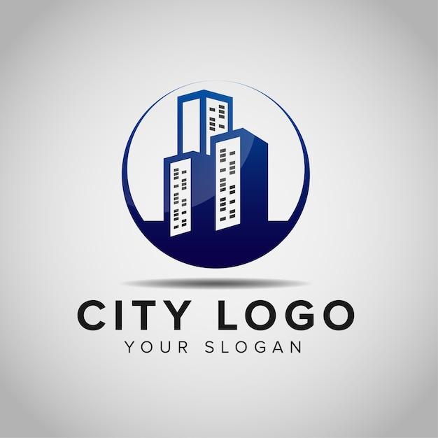Ispirazione per il design del logo della costruzione di edifici Vettore Premium