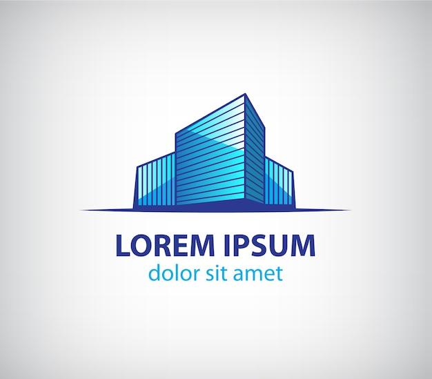 Logo della costruzione di edifici isolato su grigio Vettore Premium