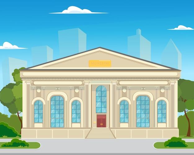 L'edificio è un museo storico in città. Vettore Premium