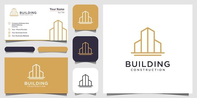 Costruzione logo con stile art linea. città edificio astratto per logo design ispirazione e biglietto da visita Vettore Premium