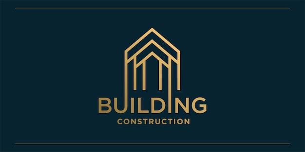 Logo della costruzione con stile di arte moderna linea dorata e modello di progettazione di biglietti da visita Vettore Premium