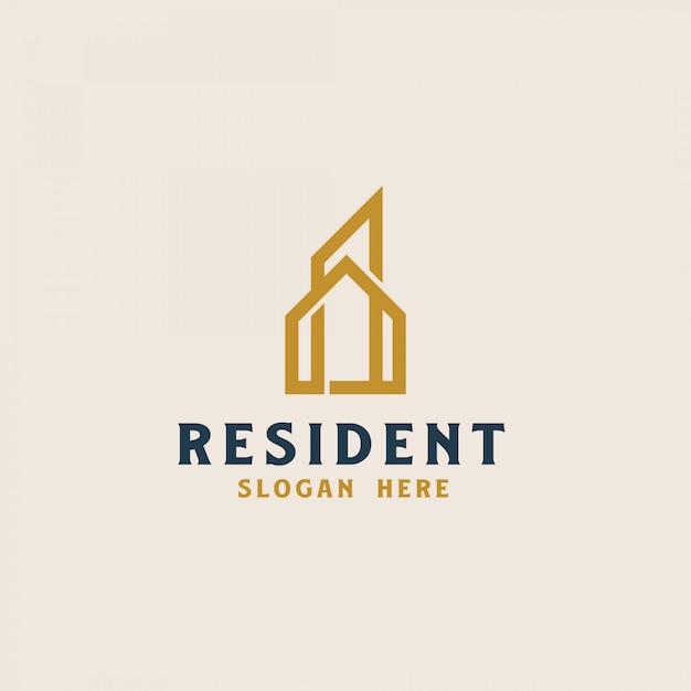 Modello di logo immobiliare di costruzione. illustrazione vettoriale Vettore Premium