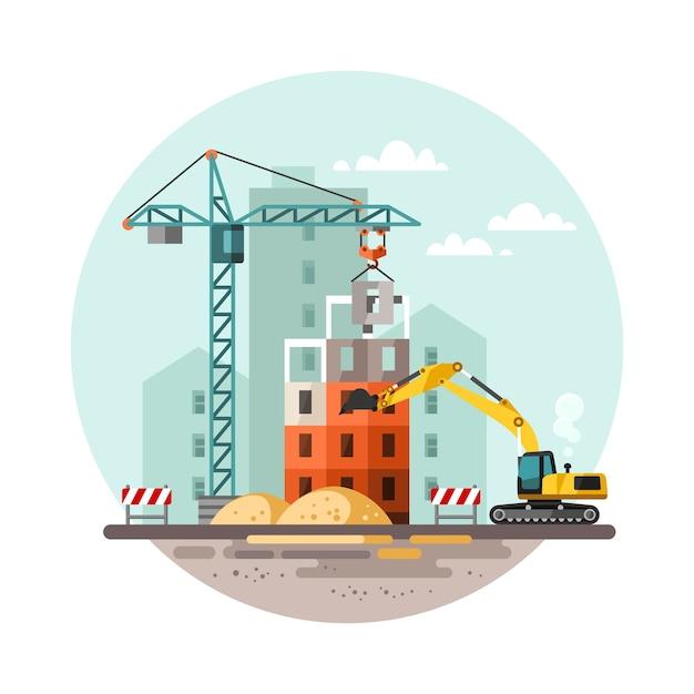 Processo di lavoro di costruzione con case e macchine edili Vettore Premium
