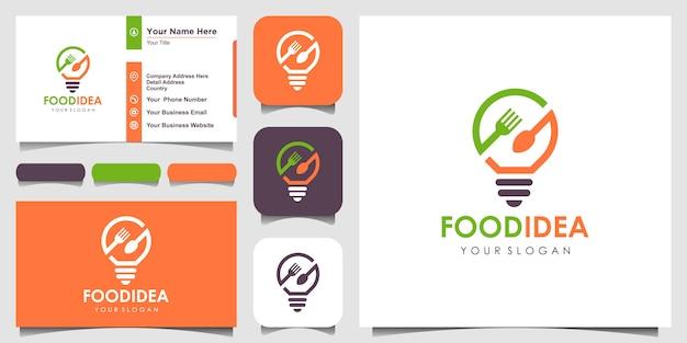 Bulb & fork creative breakfast restaurant ispirazione logo e biglietto da visita Vettore Premium