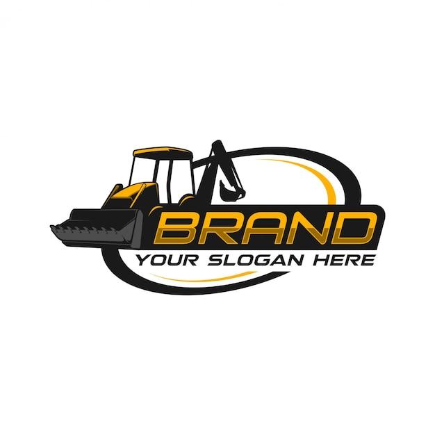 Logo buldozer Vettore Premium