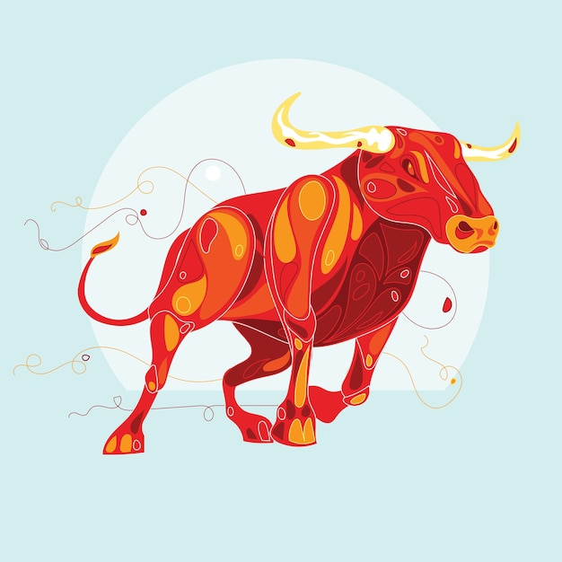 Toro spagnolo con stile astratto Vettore Premium