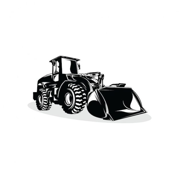 Bulldozer logo design modello di progettazione Vettore Premium