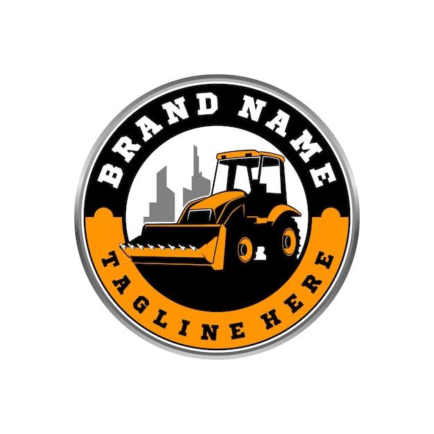 Logo del bulldozer Vettore Premium