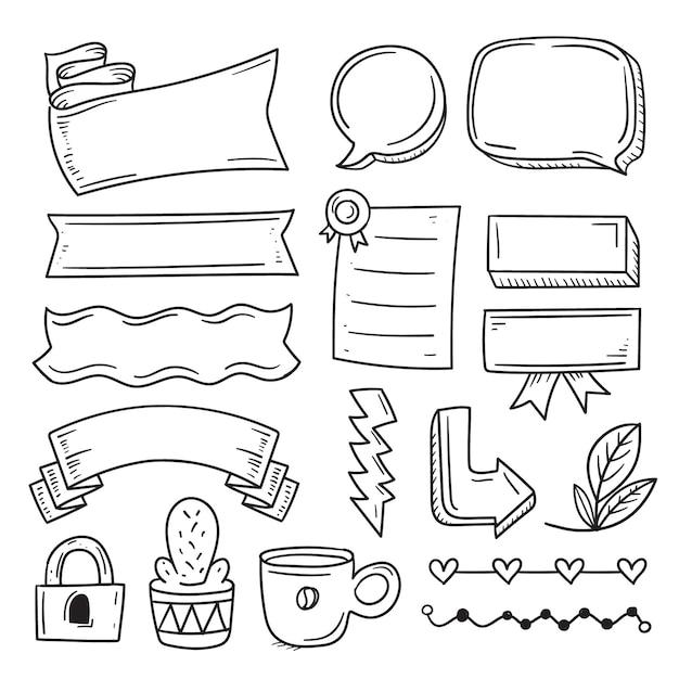 Elementi del diario di proiettile con varie forme di nastro Vettore Premium