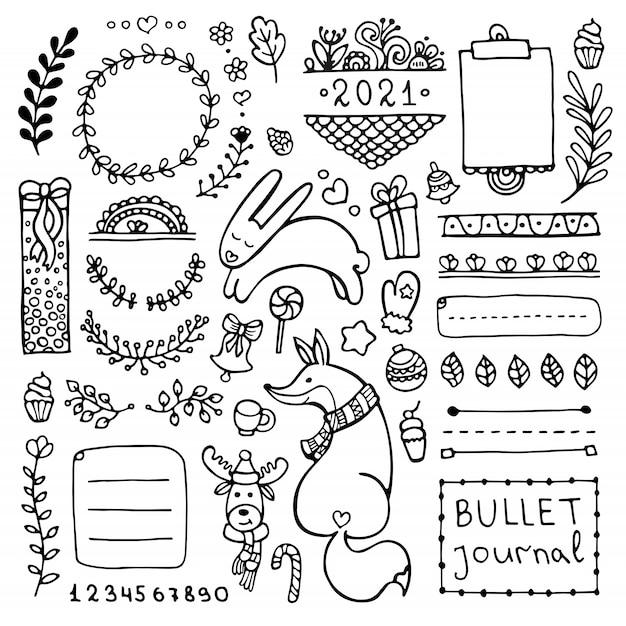 Elementi di vettore disegnato a mano proiettile giornale per notebook, diario e planner. Vettore Premium