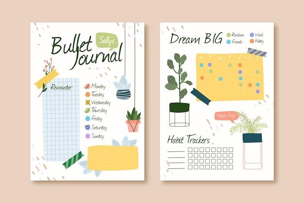 Bullet journal planner modello Vettore Premium