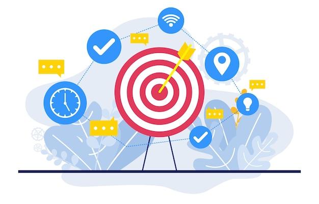 Bullseye digital marketing commerce mobile web analysis design illustration Vettore Premium