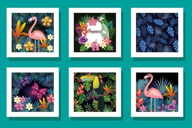 Fascio di animali con fiori tropicali Vettore Premium