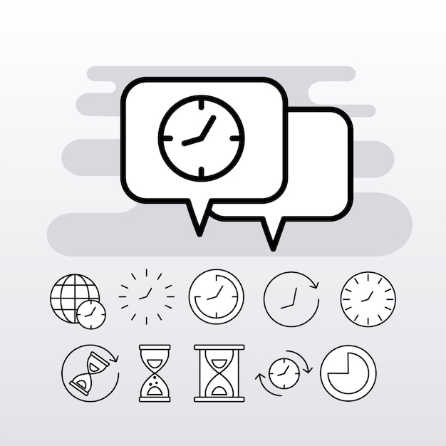 Pacchetto di undici orologi di tempo linea stile impostare le icone Vettore Premium