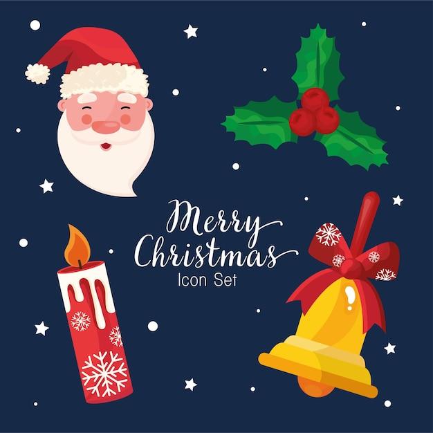 Pacchetto di quattro icone e lettere di buon natale felice Vettore Premium