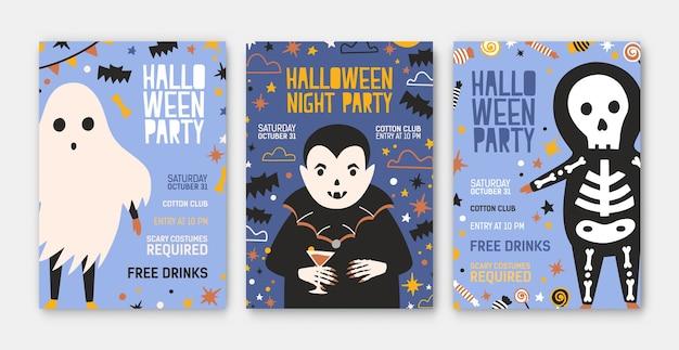 Pacchetto di modelli di invito a una festa di halloween, volantini o poster con un simpatico vampiro Vettore Premium
