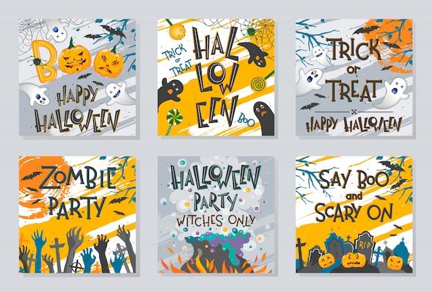 Fascio di poster di halloween con mani di zombi, fantasmi, zucche, calderone di streghe e pipistrelli. Vettore Premium