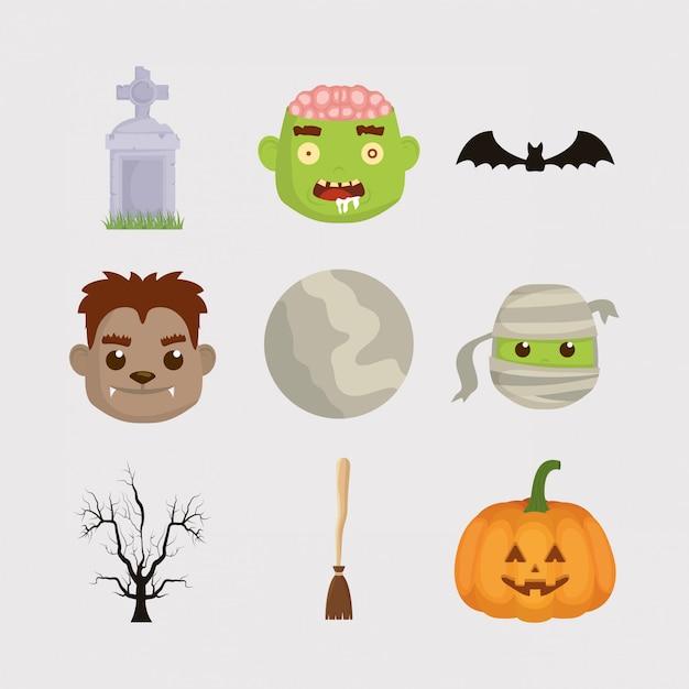 Fascio di halloween imposta icone personaggi Vettore Premium
