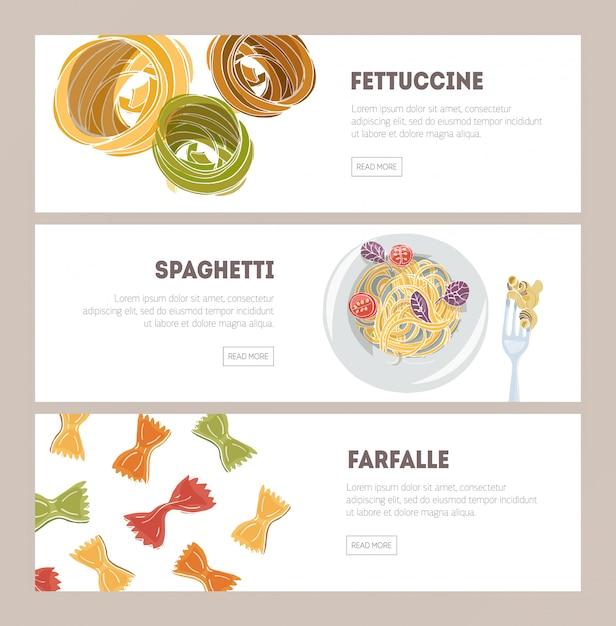 Fascio di modelli di banner web orizzontale con diversi tipi di pasta cruda e preparata disegnata a mano su fondo bianco - fettuccine, spaghetti, farfalle. illustrazione per ristorante italiano. Vettore Premium