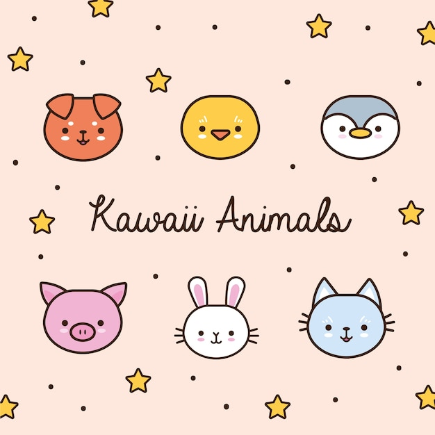 Fascio di animali kawaii con stelle e linea di lettere e illustrazione di stile di riempimento Vettore Premium