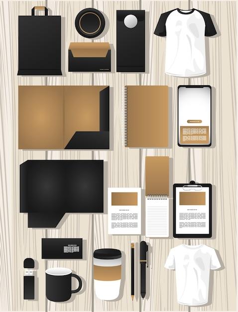 Pacchetto di elementi di mockup di branding Vettore Premium