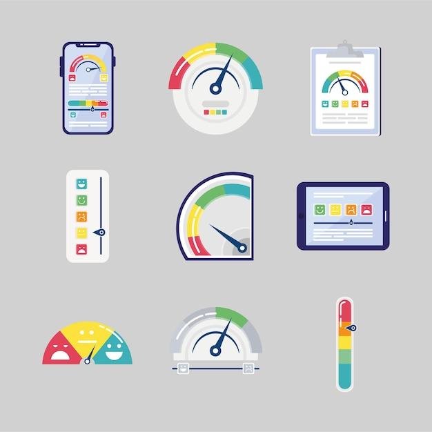 Un pacchetto di nove set di icone di soddisfazione del cliente illustrazione Vettore Premium