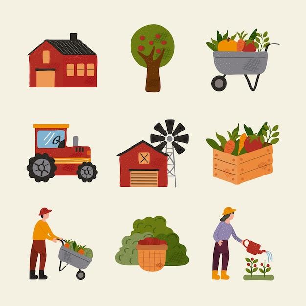Pacchetto di nove fattoria e agricoltura impostare icone illustrazione vettoriale design Vettore Premium