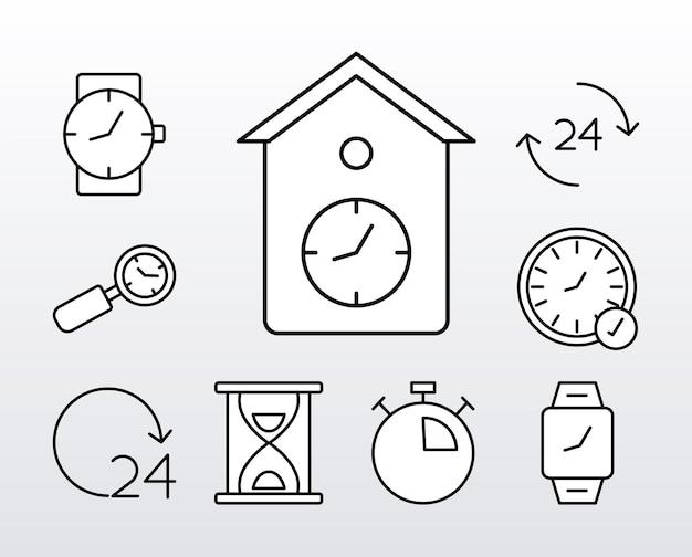 Pacchetto di nove icone di stile di linea di orologi Vettore Premium