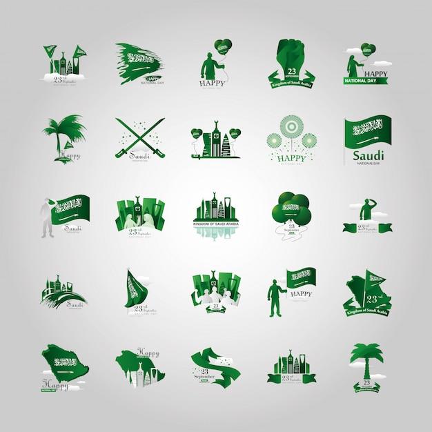 Bundle di loghi della giornata nazionale dell'arabia saudita Vettore Premium