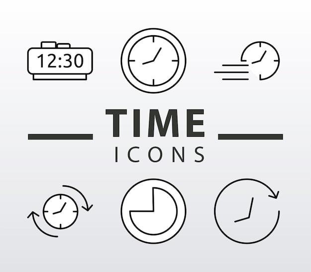 Fascio di sei orologi a tempo stile linea imposta icone e scritte Vettore Premium