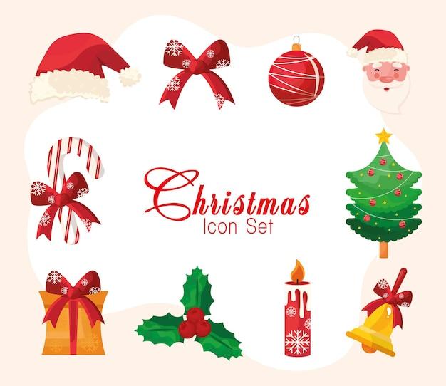 Pacchetto di dieci icone e lettere di buon natale felice Vettore Premium