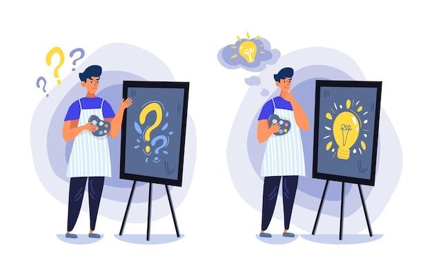 Fascio di due immagini di un giovane designer, libero professionista o pittore che cerca di cogliere la sua idea. sul primo è sconvolto e non ha nulla, sul secondo è pieno di successo, ispirato e motivato. Vettore Premium