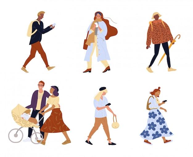 Gruppo di persone che camminano carattere isolato famiglia Vettore Premium