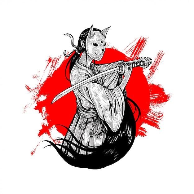 Bunny mask samurai girl illustration Vettore Premium