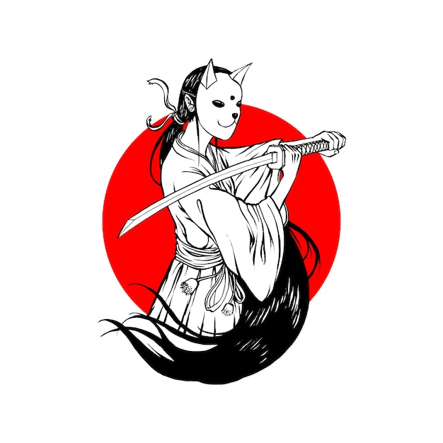 Bunny mask samurai girl simple line art Vettore Premium